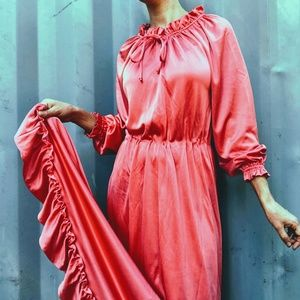 VTG Salmon Pink Satin 70s Boho Ruffle Maxi Dress